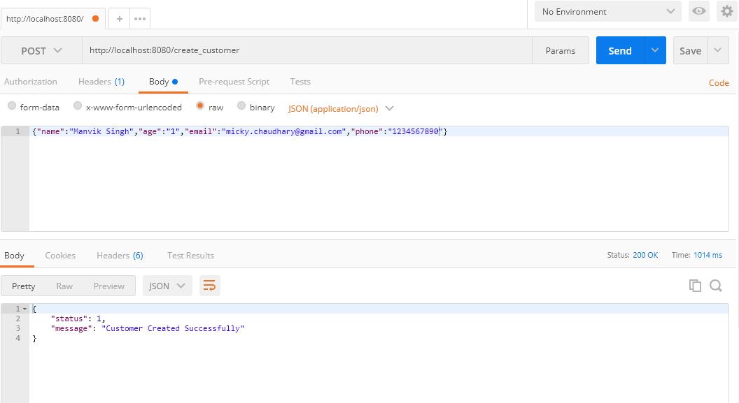 create customer api call screenshot